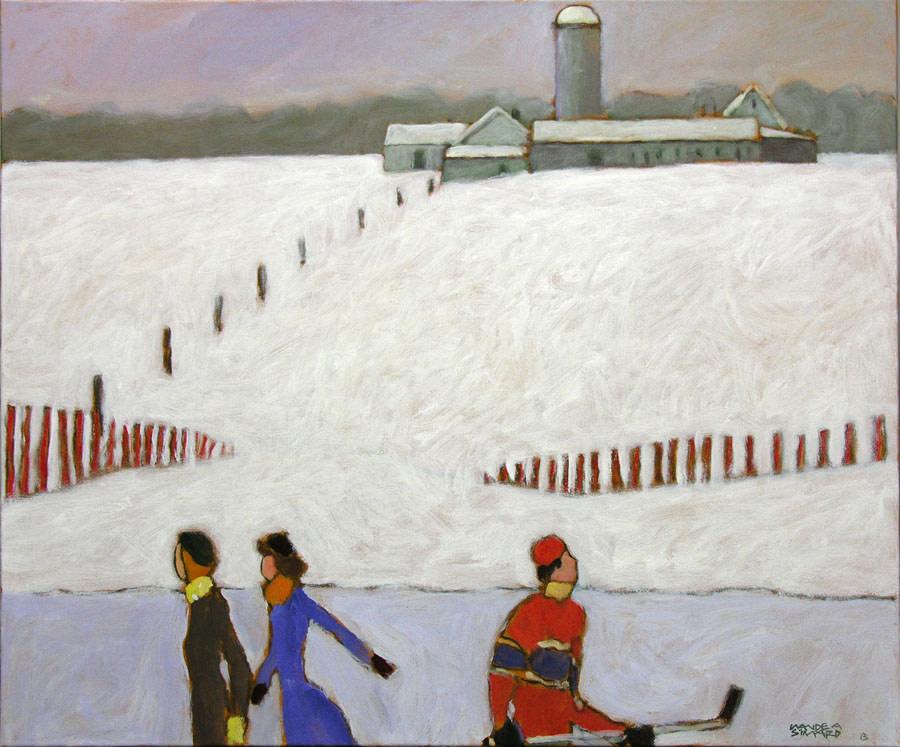 Claude A. Simard, R.C.A. 1943-2014The Farmer's Frozen Pond - L'étang du fermier en hiver, 2013 Signed, Dated Acrylic on canvas - Acrylique sur toile 30 x 36 Width: 36 Height: 30