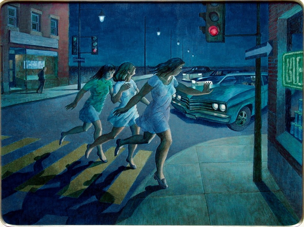 Philip Surrey, C.M., LL.D., R.C.A. (1910-1990)Trois filles menaces par une automobile, 1969 Oil on masonite