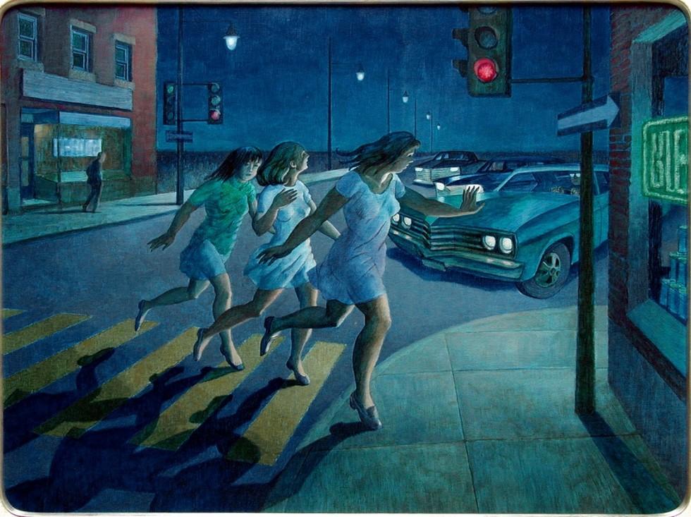 Philip Surrey, C.M., LL.D., R.C.A. (1910-1990)Trois filles menaces par une automobile, 1969 Oil on masonite