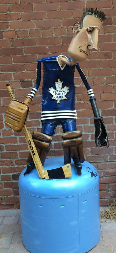 Patrick Amiot Johnny Bower, 2014 Signed, Dated Mixed media - Media mixte 84 x 65 x 51 Depth: 51 Width: 65 Height: 84