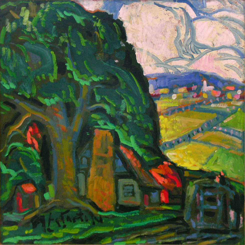 "Marc-Aurèle Fortin, A.R.C.A. 1888-1970Le grand orme Oil on masonite 24"" x 24"""