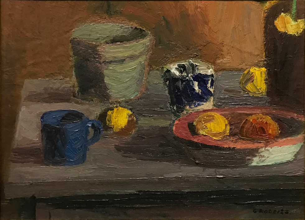 Goodridge Roberts, LL.D, R.C.A., O.S.A. 1904-1974Still Life with Cup and Fruit, 1945 signed, 'G Roberts.' (recto, lower right) / signé, 'G Roberts'. (recto, en bas à droite) Oil on masonite - Huile sur isorel 16 x 20 in 40.6 x 50.8 cm