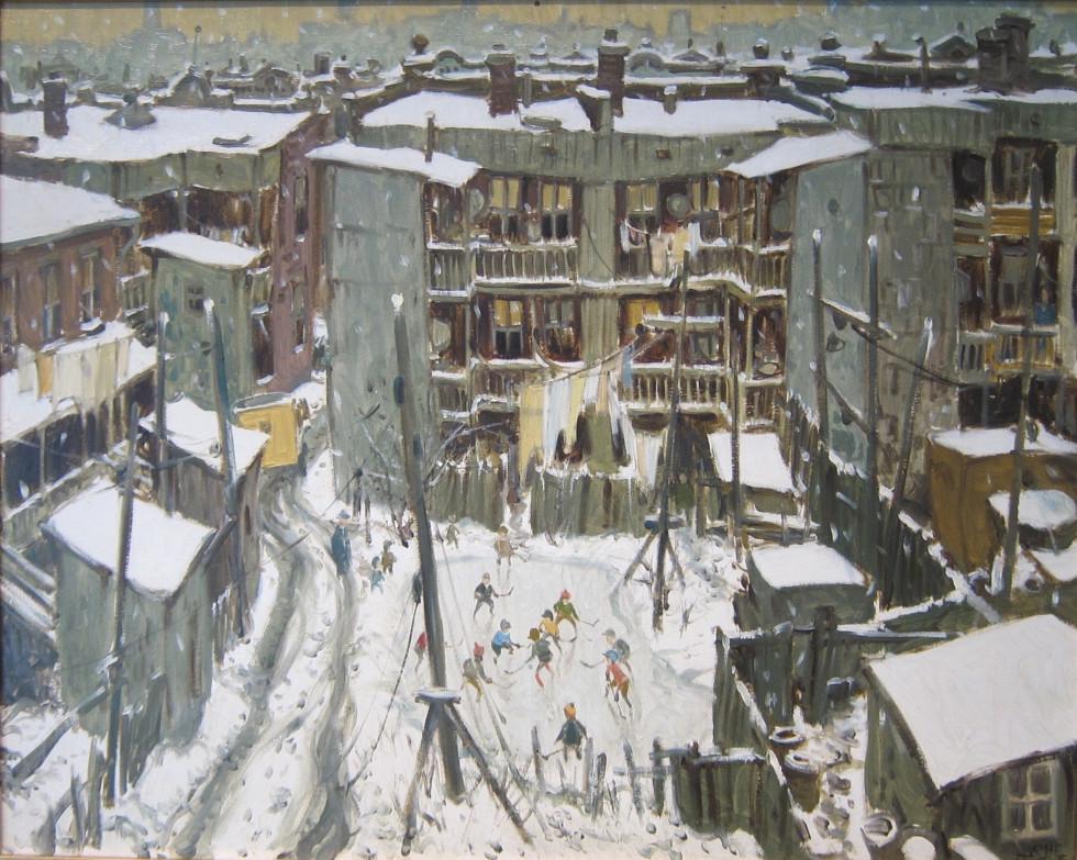 John Little, R.C.A. Faubourg à m'lasse, Dorion Street - Faubourg à m'lasse, rue Dorion, 1965 Signed, Dated Oil on canvas - Huile sur toile 24 x 30 Width: 30 Height: 24