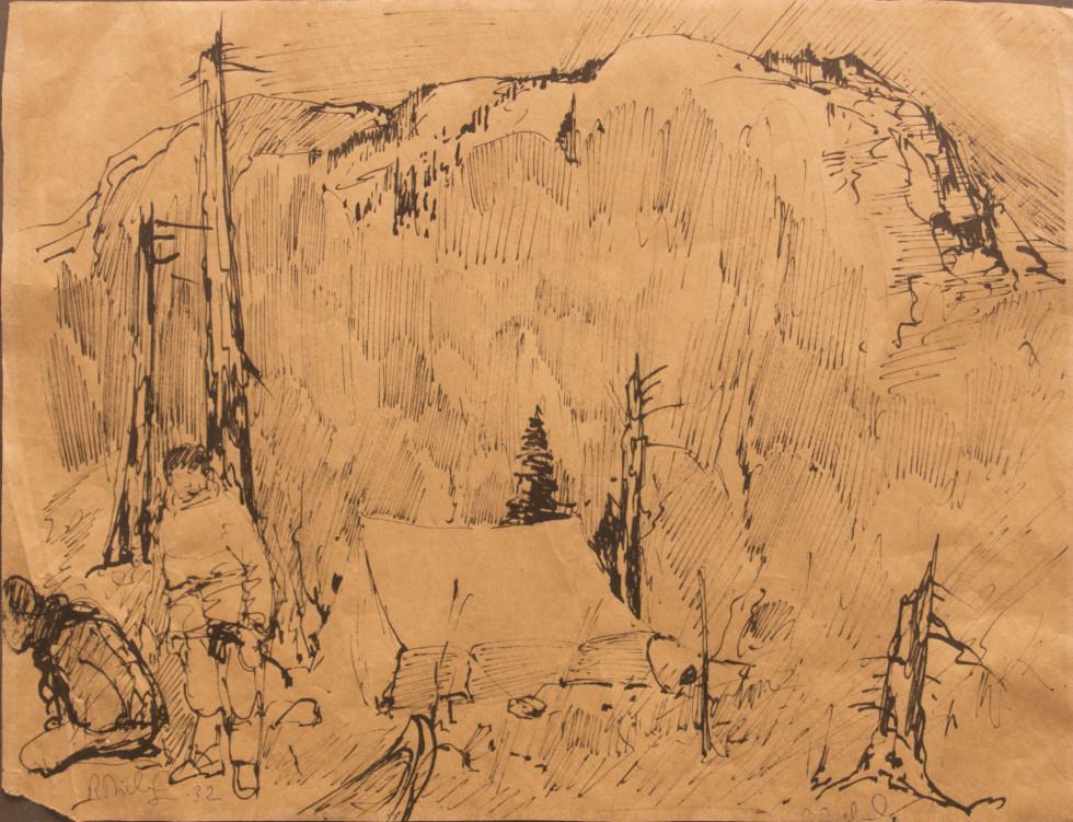 René Richard, C.M., R.C.A., Campement Indien, 1932 Liquid medium on paper (probably ink) - Technique liquide sur papier (probablement de l'encre) 11 x 14 1/4 in 27.9 x 36.2 cm