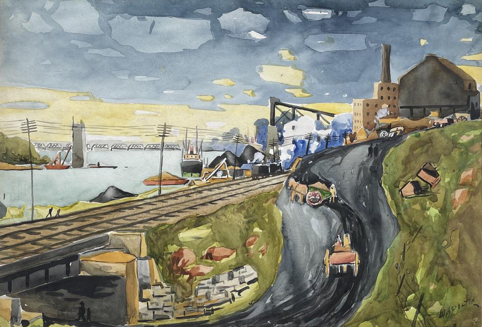 Marc-Aurèle Fortin, Le port (Hochelaga, the Jacques-Cartier Bridge under construction), 1927 (circa)