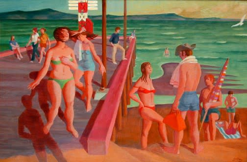 Philip Surrey, C.M., LL.D., R.C.A. 1910-1990Bathers - Les baigneurs Oil 18 x 27 in 45.7 x 68.6 cm