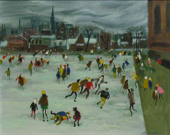 William Winter, O.S.A., R.C.A. 1909-1996Schoolyard in Winter - Cour d'école en hiver Oil on canvas board - Huile sur toile marouflée sur carton 16 x 20 Width: 20 Height: 16