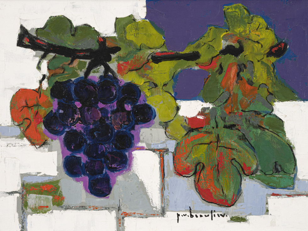 Paul Vanier Beaulieu, Nature morte raisin fond bleu, 1958 (circa)
