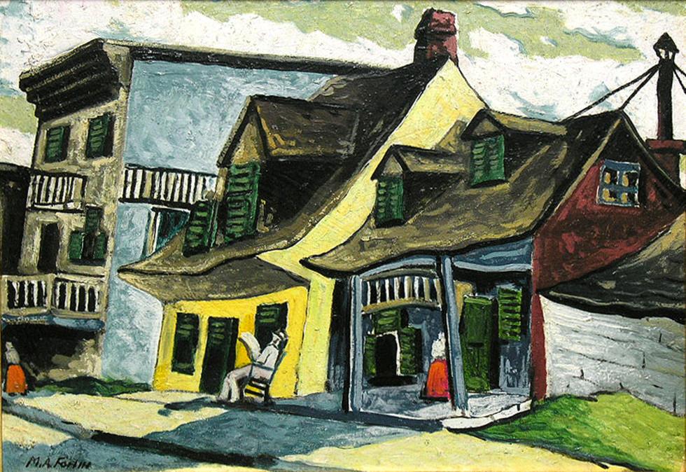 """Marc-Aurèle Fortin, A.R.C.A. 1888-1970Vieilles maisons à Longueuil Oil on panel 14"""" x 20"""""""