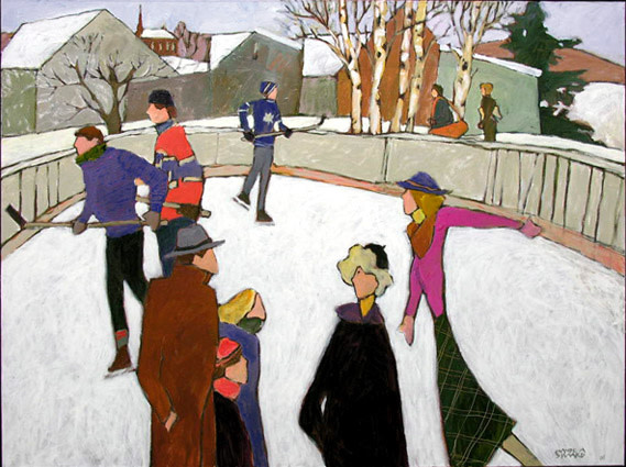 Claude A. Simard, R.C.A. 1943-2014Quiet Winter Day - Journée paisible d'hiver, 2008 Signed, Dated Acrylic on canvas - Acrylique sur toile 36 x 48 Width: 48 Height: 36