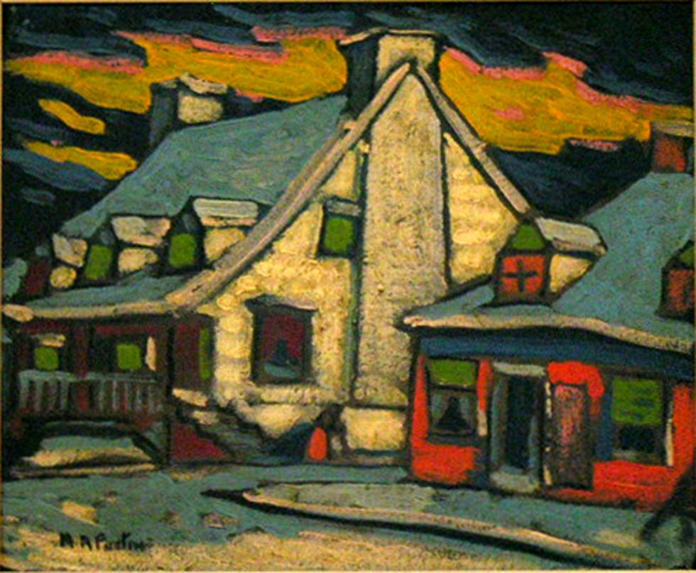 """Marc-Aurèle Fortin, A.R.C.A., Vieilles maisons # 3648 Oil on panel  10"""" x 12"""""""