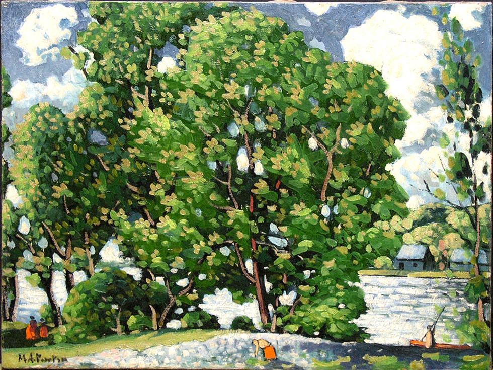 """Marc-Aurèle Fortin, A.R.C.A. 1888-1970Paysage d'été près de la rivière Oil on canvas 19 ½"""" x 26"""""""