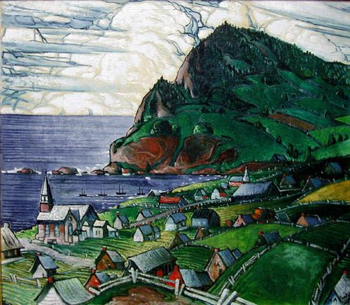 Marc-Aurèle Fortin, A.R.C.A., L'Anse-aux-Gascons, 1938 (circa) Oil on canvas - Huile sur toile 35 1/4 x 40 1/2 in 89.5 x 102.9 cm