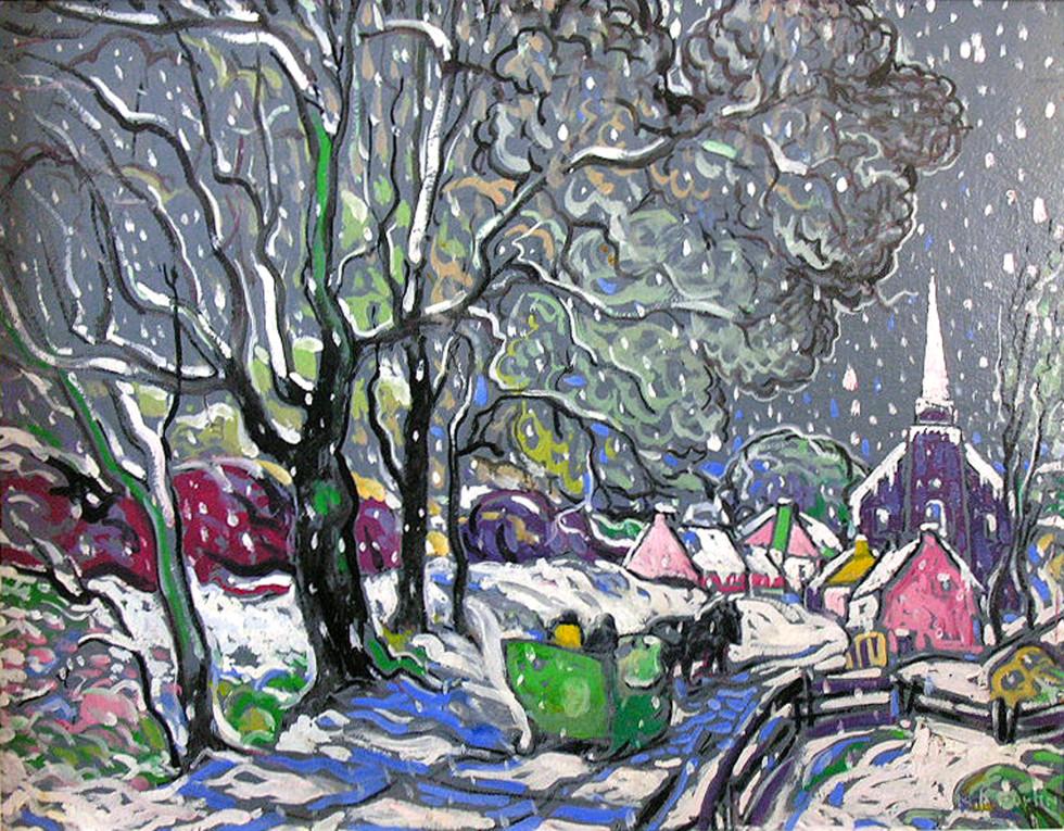 """Marc-Aurèle Fortin, A.R.C.A., Village à Ste-Rose (Village sous la neige) Oil on masonite  22"""" x 28"""""""