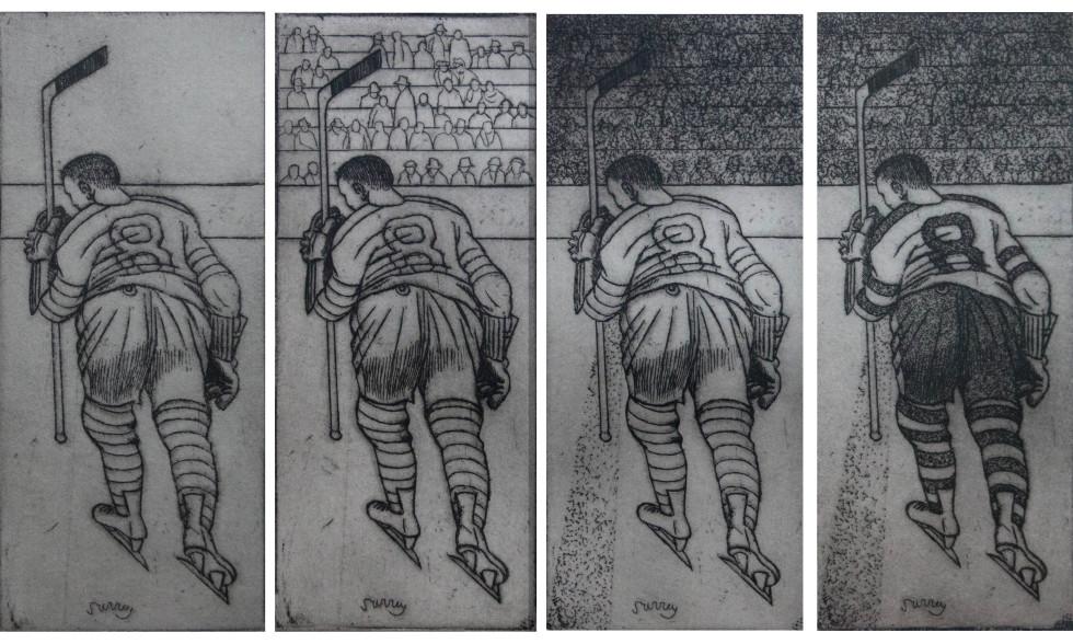 Philip Surrey Penalty 2/4 , 1961 Charcoal - Fusain 7 1/2 x 3 in 19.1 x 7.6 cm