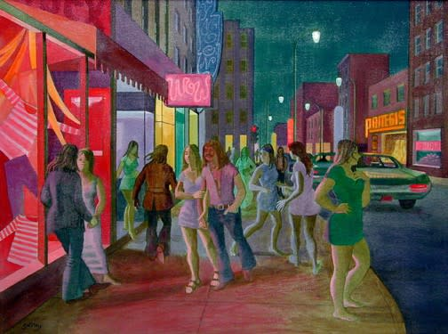 Philip Surrey, C.M., LL.D., R.C.A. 1910-1990Bishop and St. Catherine Street (Unisex Shop) - Rues Bishop et Ste-Catherine (Boutique Unisex), 1972 Oil on canvas 24 x 32 in 61 x 81.3 cm