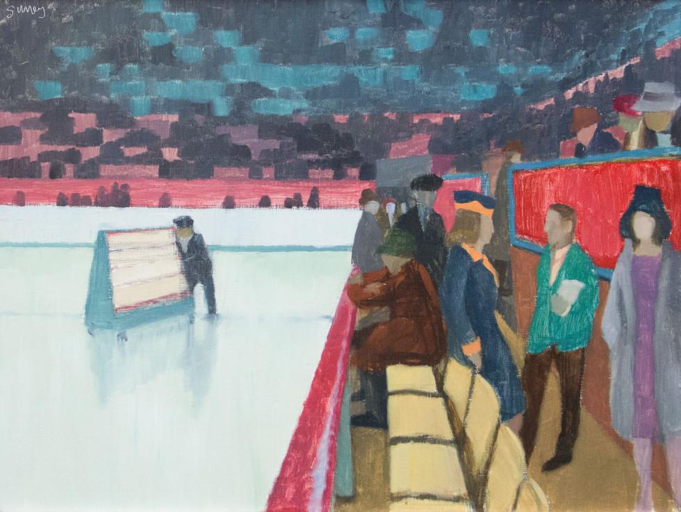 Philip Surrey, R.C.A. 1910-1990Lucky Numbers, Montreal Forum - Numéro Chanceux, Forum de Montréal, 1955 Signed, Circa Oil on panel - Huile sur panneau 12 x 16 Width: 16 Height: 12
