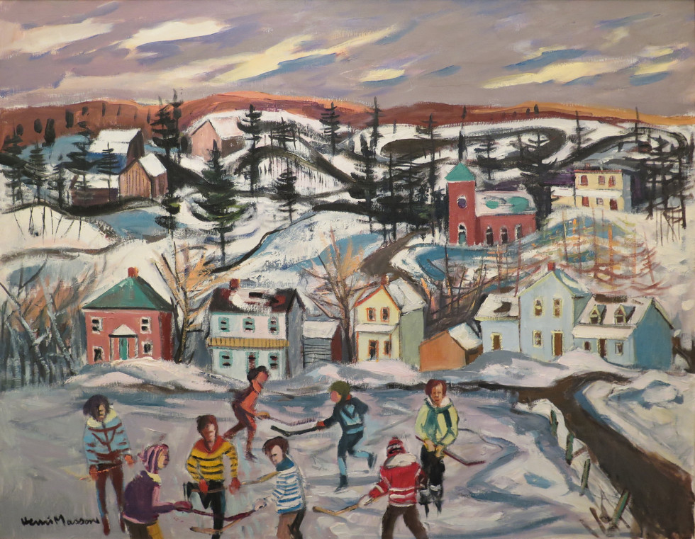 Henri L. Masson, LL.D, R.C.A., O.S.A. 1907-1996Hockey, Val Des Monts, 1987 Signed, Dated Oil on canvas - Huile sur toile 28 x 35 Width: 35 Height: 28