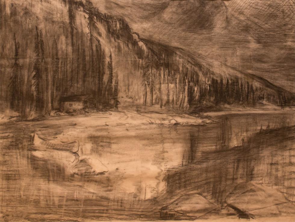 René Richard, C.M., R.C.A., Scène Grand-Nord. Canot et camp de trappeur, 1941 Dry medium on paper - Technique sèche sur papier 15 1/4 x 20 1/2 in 38.7 x 52.1 cm