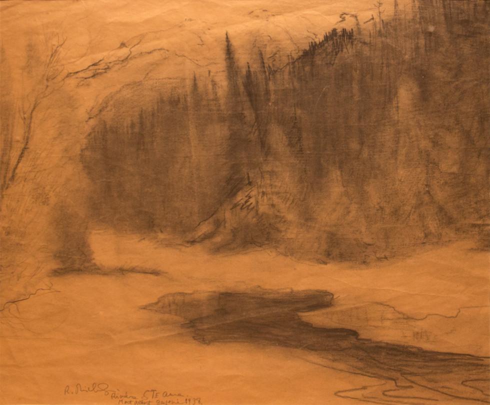 René Richard, C.M., R.C.A., Rivière Sainte-Anne, Mont-Albert, Gaspésie, 1938 Charcoal drawing on paper - Dessin au fusain sur papier 19 1/2 x 16 1/2 in 49.5 x 41.9 cm