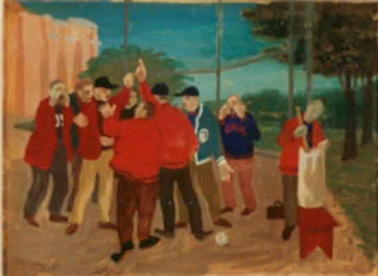 Philip Surrey, C.M., LL.D., R.C.A. 1910-1990The Argument (Baseball) - La dispute (baseball), 1951 Oil on panel 5 3/4 x 7 3/4 in 14.6 x 19.7 cm
