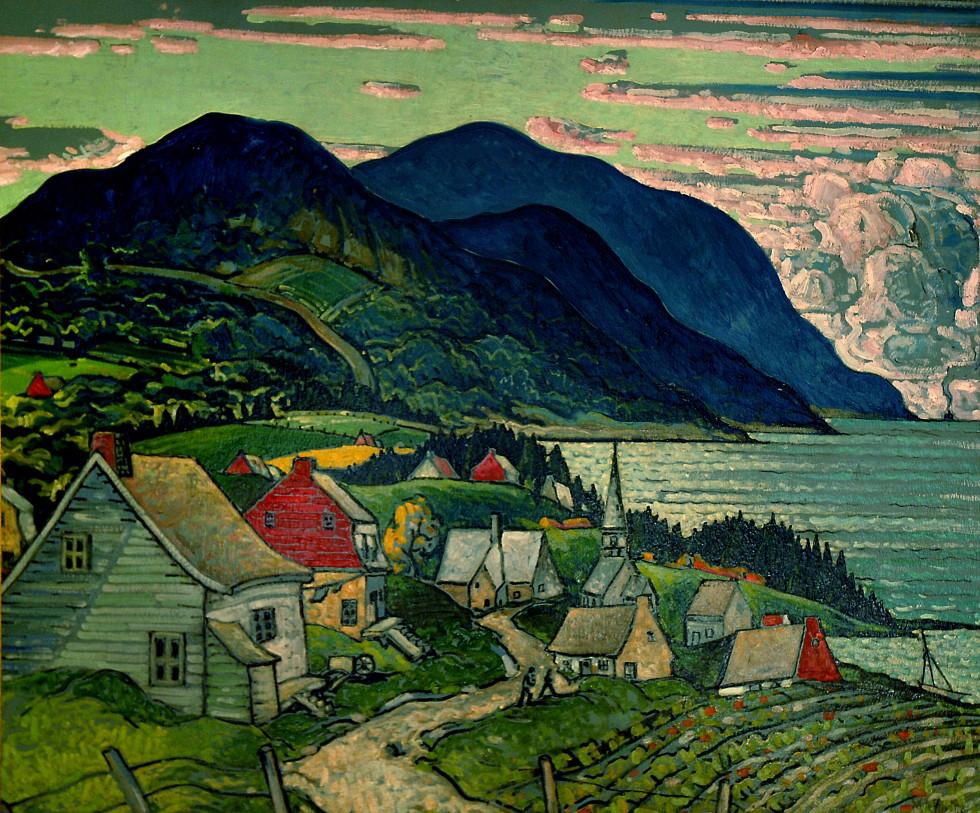 Marc-Aurèle Fortin, A.R.C.A. 1888-1970Paysage à St-Siméon, compté Charlevoix, 1938 Signée (en bas à droite, recto) - Signed (lower right, recto) Huile sur carton - Oil on board 39 x 47 in 99.1 x 119.4 cm