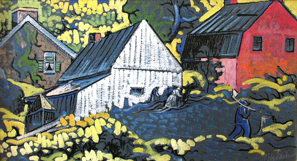 """Marc-Aurèle Fortin, A.R.C.A. 1888-1970Vieilles maisons à Ste-Rose, Québec Oil on canvas 20"""" x 36"""""""
