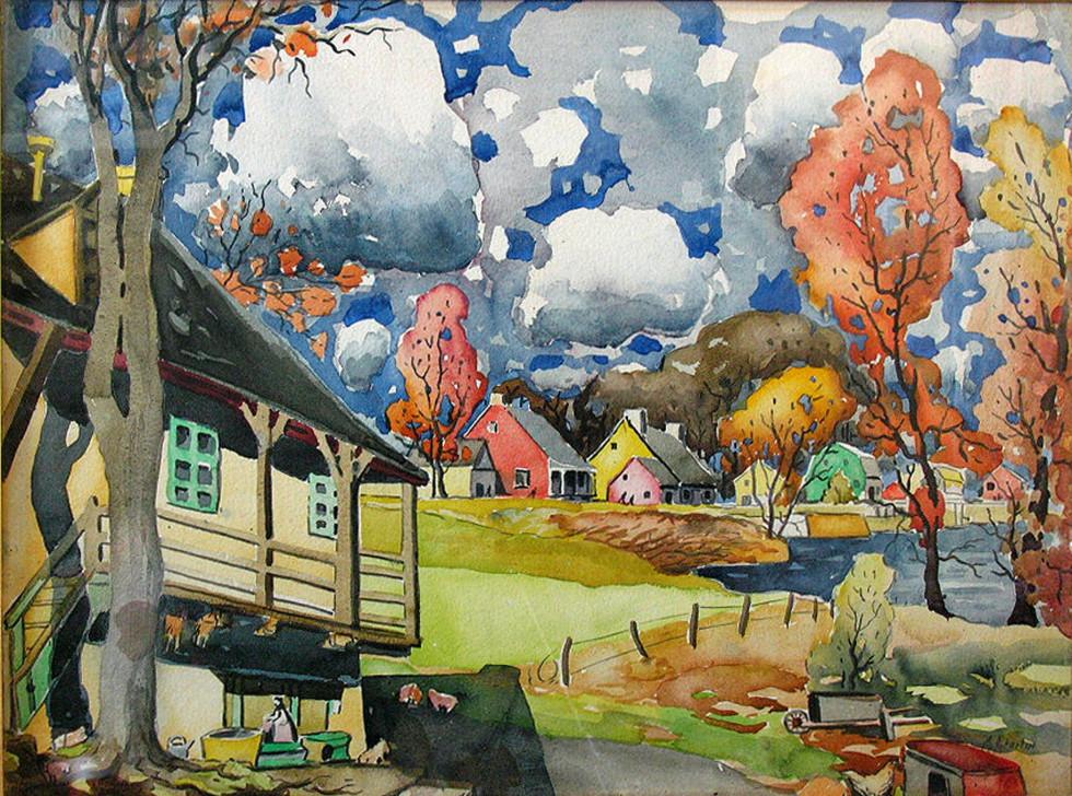 """Marc-Aurèle Fortin, A.R.C.A., Rivière-des-Milles-Îles, Ste-Rose, 1923 Watercolour  22 ½"""" x 30"""""""
