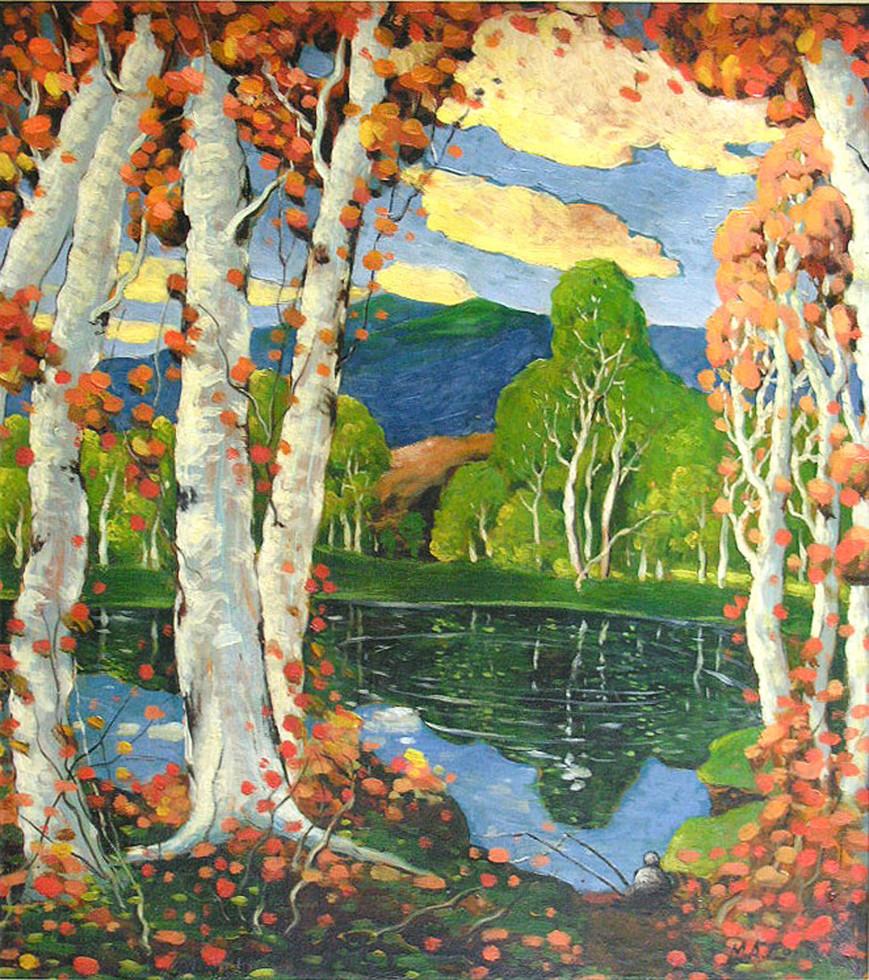 """Marc-Aurèle Fortin, A.R.C.A., Piedmont – Bouleau au bord d'un lac au matin, 1928 Oil on card board  26 ½"""" x 23 ¼"""""""