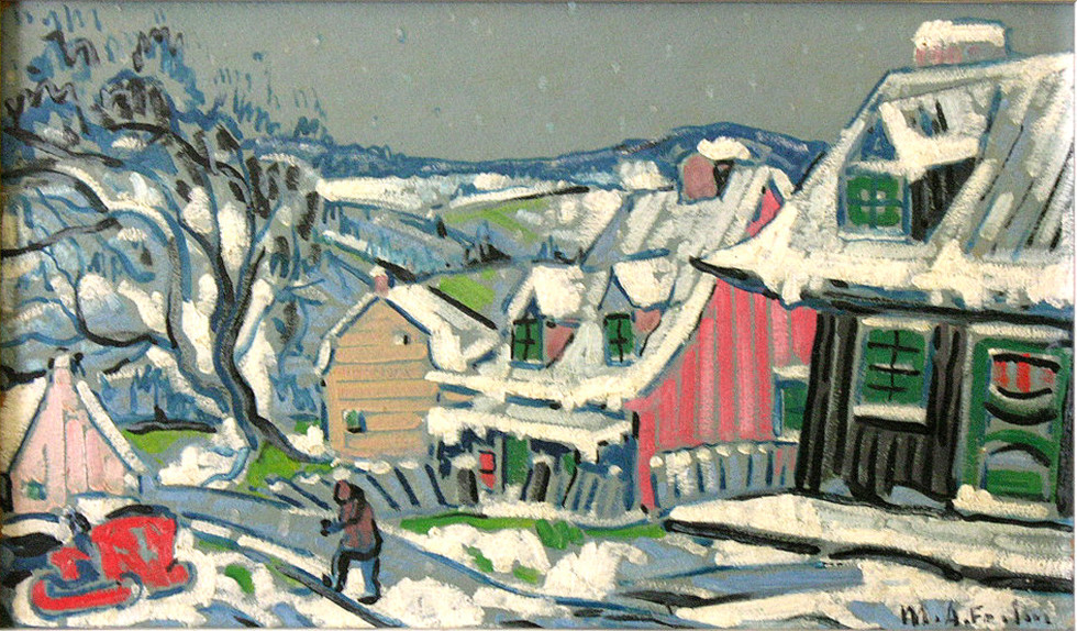 "Marc-Aurèle Fortin, A.R.C.A. 1888-1970Neige de printemps, La Malbaie Oil on panel 15 ¼"" x 25 ½"""