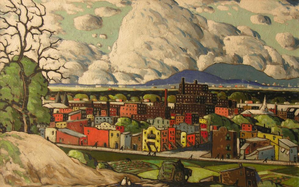 Marc-Aurèle Fortin, A.R.C.A., Paysage à Hochelaga, 1930 (circa) Oil on masonite  21 x 33 in 53.3 x 83.8 cm