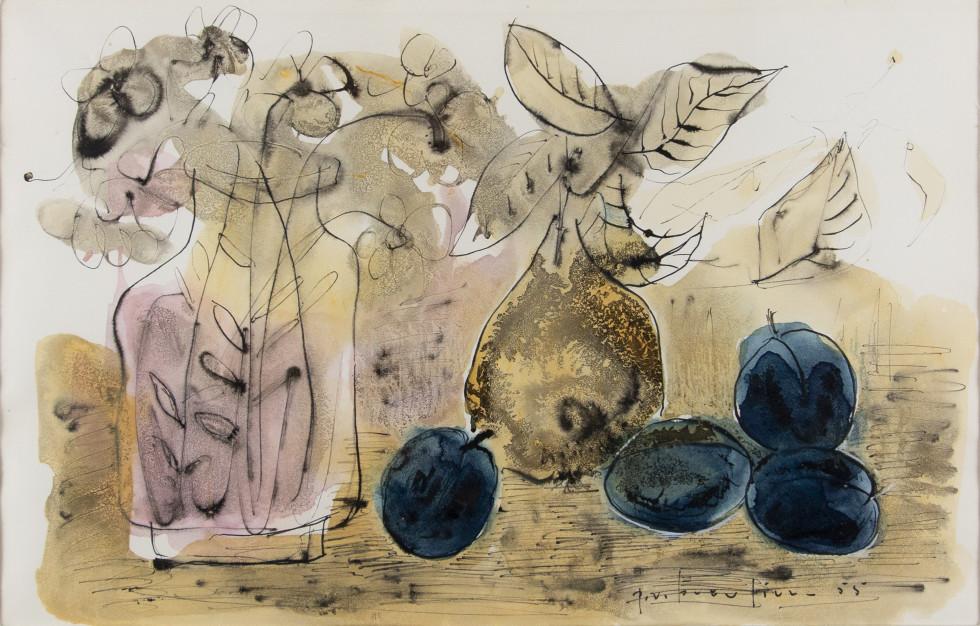 Paul Vanier Beaulieu, Still Life with Vase, Pear and Plums, 1955