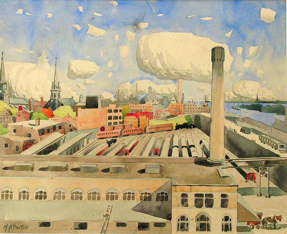 """Marc-Aurèle Fortin, A.R.C.A. 1888-1970Vue sur Montréal et la canal Lachine, 1930 Watercolour 16"""" x 20"""""""