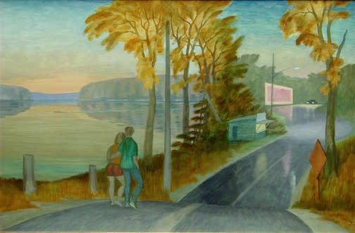 Philip Surrey, C.M., LL.D., R.C.A. 1910-1990Route 37 at Pierrefonds - Route 37 à Pierrefonds, 1969 Oil on masonite 20 x 30 in 50.8 x 76.2 cm