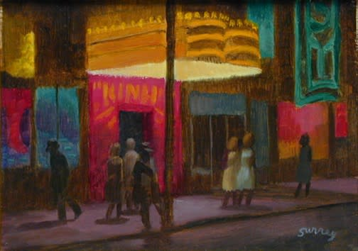 Philip Surrey, C.M., LL.D., R.C.A. 1910-1990Evening Theatre Activity - Au théâtre en soirée Oil on masonite 6 x 8 in 15.2 x 20.3 cm