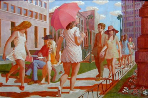 Philip Surrey, C.M., LL.D., R.C.A. (1910-1990)Victoria Square - Square Victoria, 1969 Oil on masonite 24 x 36