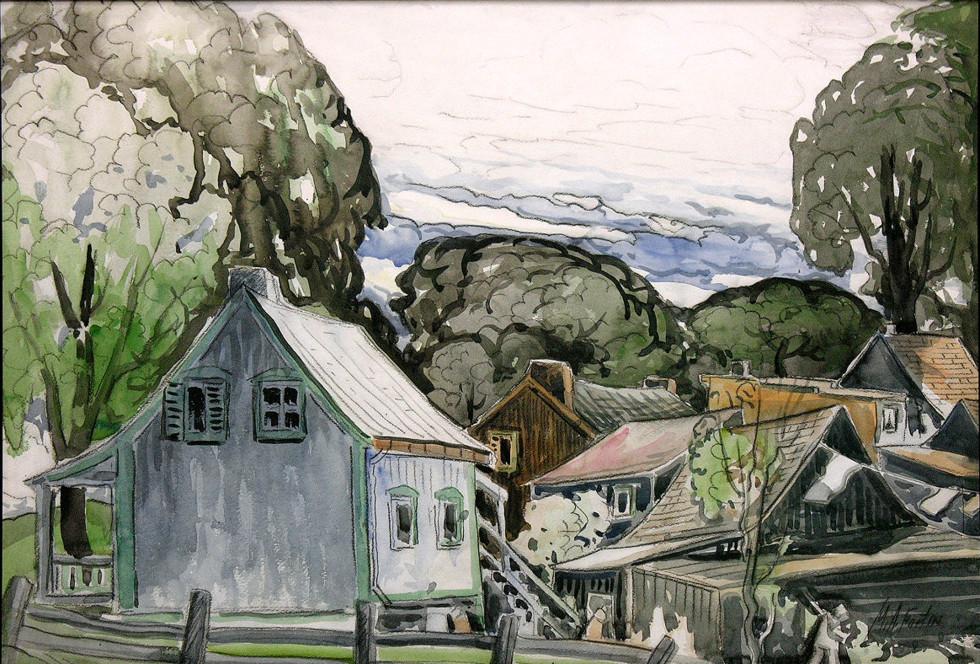 Marc-Aurèle Fortin, A.R.C.A., Vieilles maisons Watercolour  19 x 28 in 48.3 x 71.1 cm