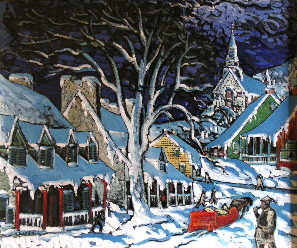 Marc-Aurèle Fortin, A.R.C.A., Village canadien en hiver - Canadian Village, Winter, 1938 (circa) oil on masonite - huile sur isorel 28 3/4 x 34 1/2 in 73 x 87.6 cm