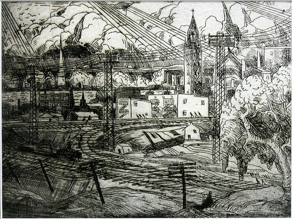 "Marc-Aurèle Fortin, A.R.C.A. 1888-1970Paysage à Hochelaga Etching 5 ½"" x 7 ½"""