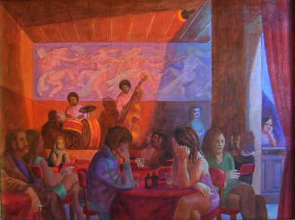 Philip Surrey, C.M., LL.D., R.C.A. 1910-1990Le Café La Bohème, 1972 Oil on canvas 8 x 11 in 20.3 x 27.9 cm