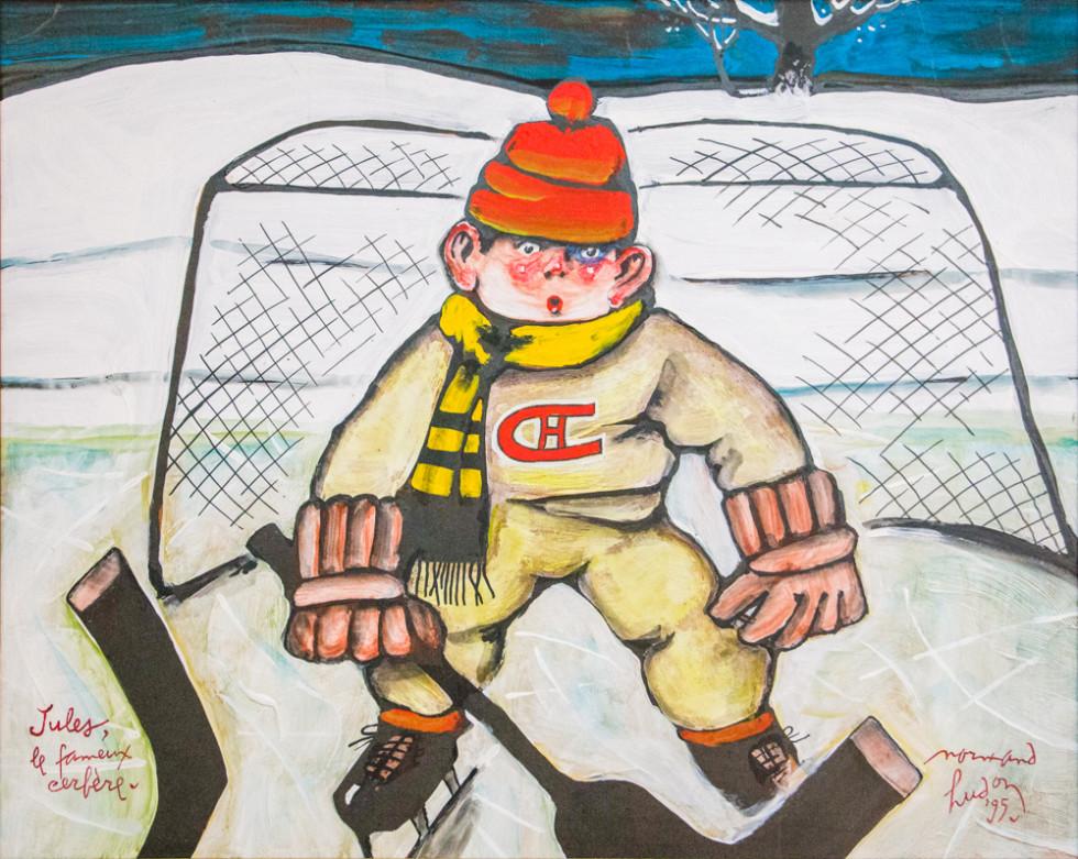 Normand Hudon, Jules le fameux cerfère, 1995 Acrylic on canvas - Acrylique sur toile 16 x 20 in 40.6 x 50.8 cm