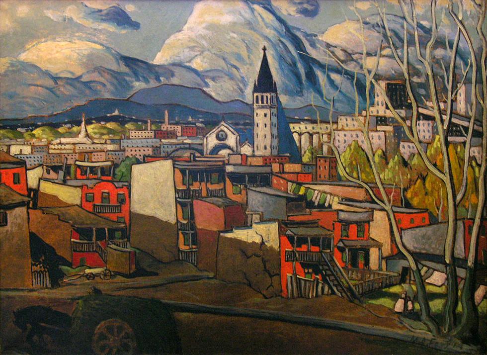 "Marc-Aurèle Fortin, A.R.C.A. 1888-1970Étude d'ombres, Hochelaga, 1938 (circa) Oil on canvas 22"" x 30"""