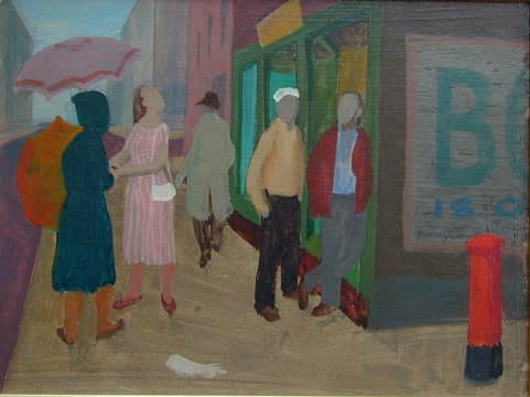 Philip Surrey, C.M., LL.D., R.C.A. (1910-1990)Umbrellas - Les parapluies, 1951 Oil on panel 6 x 8