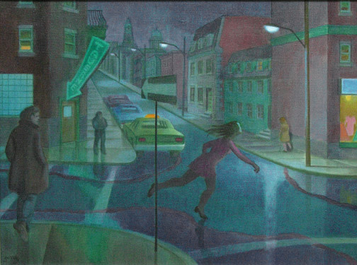 Philip Surrey, C.M., LL.D., R.C.A. 1910-1990Evening, Montreal, Crossing the Street - Le Soir, Montréal, traversant la rue Oil on canvas - Huile sur toile 18 x 24 in 45.7 x 61 cm