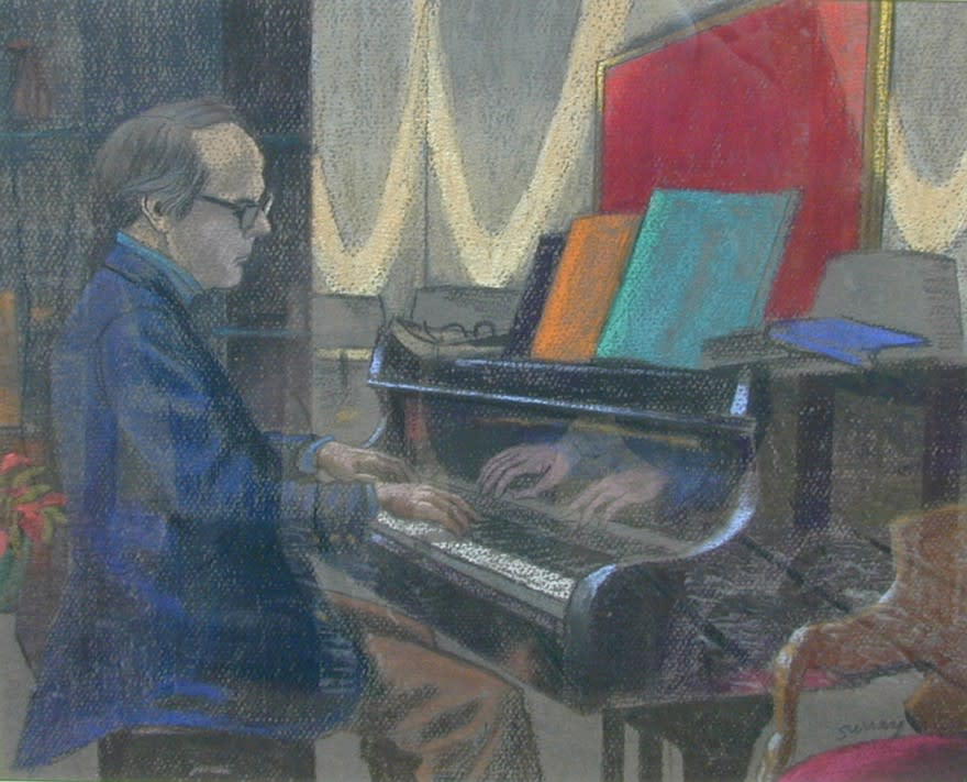 Philip Surrey, C.M., LL.D., R.C.A. 1910-1990Gilles Corbeil at the Piano - Gilles Corbeil au piano, 1977 (circa) Pastel 12 x 15 in 30.5 x 38.1 cm