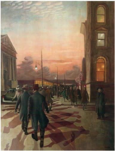 Philip Surrey, C.M., LL.D., R.C.A. 1910-1990St. James Street at 5 O'Clock - Rue St-Jacques à cinq heures, 1956 Oil on canvas 34 x 26 in 86.4 x 66 cm