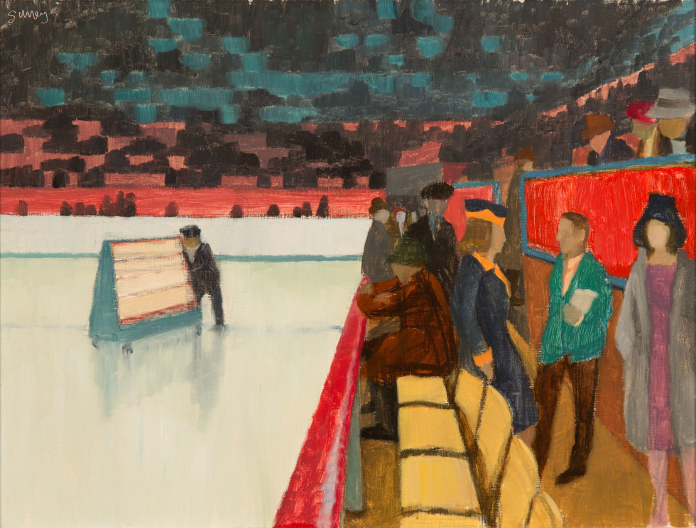 "Philip Surrey, C.M., LL.D., R.C.A. 1910-1990Lucky Numbers, Montreal Forum, 1955 (circa) signed ""Surrey."" (recto, top left). Oil on panel - Huile sur panneau 11 1/2 x 15 1/2 in 29.2 x 39.4 cm"