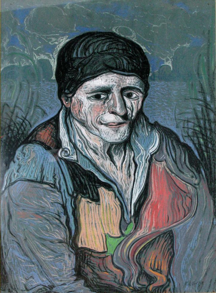 """Marc-Aurèle Fortin, A.R.C.A. 1888-1970Le vieux pêcheur, 1945 Pastel 19"""" x 26"""""""