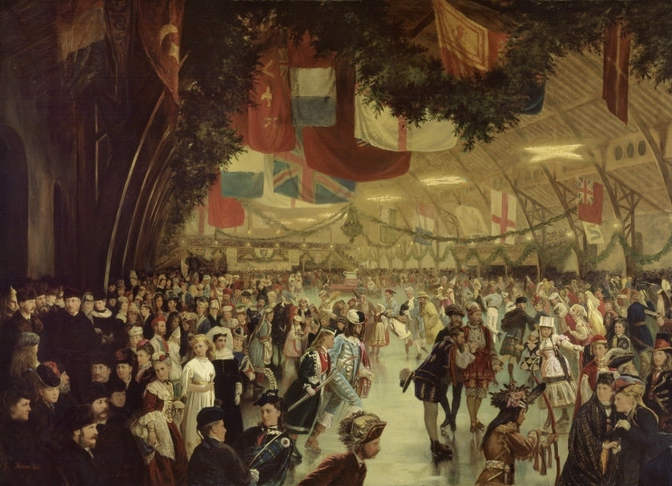 William Notman 1826-1891Skating Carnival, Montreal - Carnaval de pattinage, Montréal, 1870 Dated Print - Reproduction 54 x 70 Width: 70 Height: 50