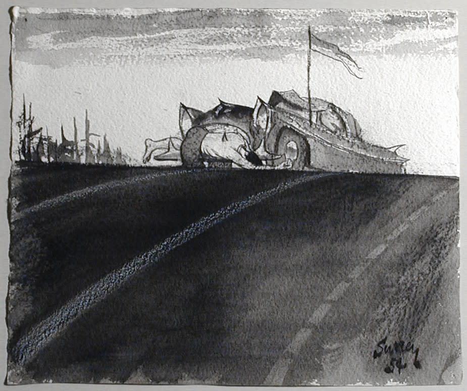 Philip Surrey, C.M., LL.D., R.C.A. 1910-1990Study for Impaled Man - Étude pour homme écorné, 1954 Ink drawing 8 1/2 x 10 in 21.6 x 25.4 cm